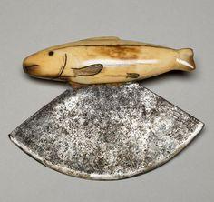 Eskimo Women's Knife (Ulu); Walrus Ivory Handle, Steel Blade | ca. 1890