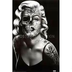 Maralyn Monroe Half Skull Large Tattoo