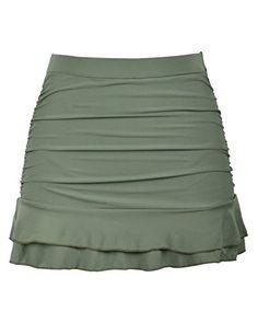 8ab46c5defd Hilor Women s Skirted Bikini Bottom High Waisted Shirred Swim Bottom Ruffle  Swim Skirt Army Green 12
