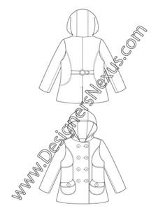 006- fashion flat sketch hooded double breasted pea coat - free download in Illustrator or bitmap
