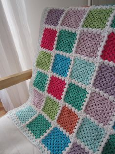 Crochet Baby Blanket  Granny Squares  Pastel by Wennies on Etsy, $105.00
