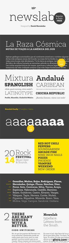 Newslab Font Family - 16 Fonts for $126