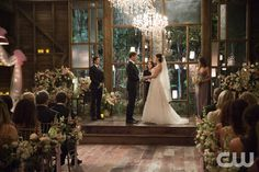 """Vampire Diaries -- """"I'll Wed You in The Golden Summertime"""" -- Image Number: VD621b_0032.jpg -- Pictured (L-R): Ian Somerhalder as Damon, Matt Davis as Alaric, Jodi Lyn O'Keefe as Jo and Nina Dobrev as Elena  -- Photo: Bob Mahoney/The CW -- © 2015 The CW Network, LLC. All rights reserved.pn"""