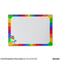 Colorful Rainbow Party Zebra Post-it® Notes - This note pad features a many-hued zebra trotting with a bunch of colorful balloons. The edges of the paper are trimmed with a palette of rainbow colors. Use the Customize it! button to change the background color. http://www.zazzle.com/colorful_rainbow_party_zebra_post_it_notes-256586213708122605?rf=238083504576446517&tc=pint