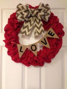Valentine's Day Love Burlap Wreath by SavvySweetBoutique on Etsy by secretary1