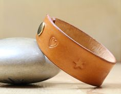 Love Heart Wristband  Love Heart Leather by TinasLeatherCrafts. Repin To Remember.
