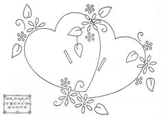 Valentine Hearts Embroidery Transfer Pattern