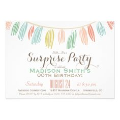 Surprise Birthday Invitations Elegant, Modern Birthday Surprise Party Card