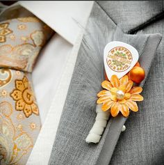 Beatles Guitar Pick Boutonniere Orange and Tangerine - Sgt Pepper Album Cover