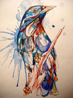 Watercolor Bird--love that the coloring allows you to see the 'bones' of the drawing.