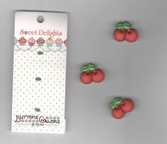 """Designer Button-Sweet Delights-Vicki Schreiner-Cherries-3/4""""-Shank Back-3 Pieces #ButtonsGalore"""