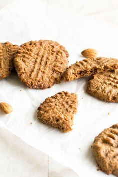 These 3 Ingredient Almond Butter Cookies are crisp from outside and chewy from inside. Its easy to bake and delightful to snack on. Easy Appetizer Recipes, Healthy Dessert Recipes, Gluten Free Desserts, Baking Recipes, Cookie Recipes, Vegetarian Recipes, Easy Vegan Cookies, Crispy Cookies, Almond Butter Cookie Recipe