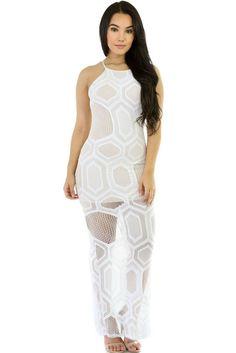 Chicloth White Mesh Long Maxi Sleeveless Dress