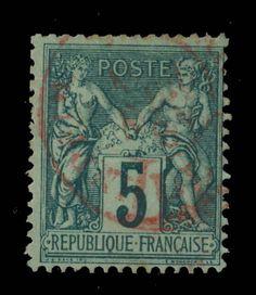 TYPE SAGE - 1881 - N°75 5c VERT (N SOUS U) CAD ROUGE DES IMPRIMÉS - TB in Timbres, France, France: oblitérés | eBay