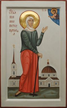 Commission contemporary christian Icon of Saint Xenia of Saint Petersburg