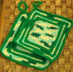 Emerald Mix Greens #Handmade 100% Cotton Pot Holder Set of 2 - Hand-Crocheted Protective Housewares made by @Ruth Sandra Sperling of RSSDesignsInFiber - in #ecofriendly yarns!