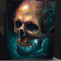 Awesome skull painting by @dankobasicarts for fellow artist @thomasj_ink! #artcollective2016