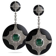 Black Deco Jewel Earrings (black resin, green resin, sterling silver, cubic zs)