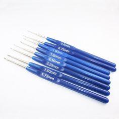 2016 baratos 8pcs / Set de plástico azul de comidas ganchillo gancho de punto aguja de tejer de la armadura del arte del hilado Consejo Herramientas de costura 0.6-1.75mm