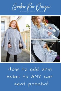 Welcome - Goober Pea Designs Free Sewing Tutorial – How to Add Arm Holes to ANY Car Seat Poncho! Sewing Projects For Kids, Sewing For Kids, Free Sewing, Toddler Poncho, Kids Poncho, Sewing Hacks, Sewing Tutorials, Sewing Tips, Sewing Ideas