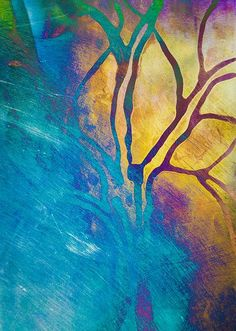Fire And Ice Abstract Tree Art Mixed Media by Priya Ghose - Fire And Ice Abstract Tree Art Fine Art Prints and Posters for Sale