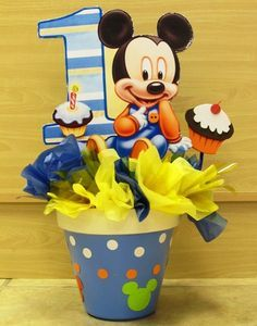 Image detail for -baby mickey 2 $ 0 00 1st Birthday Centerpieces, Mickey Mouse Centerpiece, 1st Birthday Themes, 1st Boy Birthday, 1st Birthday Parties, Fiesta Mickey Mouse, Baby Mickey Mouse, Mickey Mouse Parties, Mickey Party