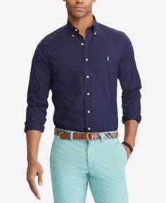 a6dc11f07644f0 Polo Ralph Lauren Men's Classic Fit Poplin Shirt - Newport Navy XXL Slim  Man, Ralph