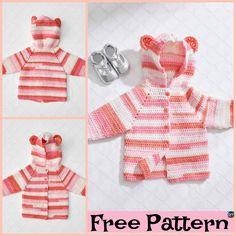 Crochet Baby Bear Cardigan – Free Patterns #freecrochetpattern #babygift #cardigan