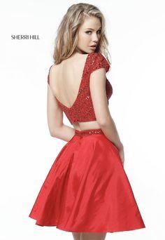 Sherri Hill 51300 Red Two Piece Taffeta Homecoming Dress
