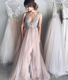 Elegant v neck champagne tulle long prom dress, evening dress - us:2 / picture color