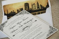 Vintage Filigree Wedding Invitation (New York City)