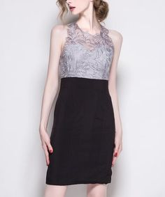 $89.99 Gray Embroidery Sheer Lace-Bodice Sheath Dress #zulilyfinds
