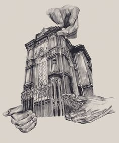 ARCHITECTURE odessa is a series of illustrations by Ukranian artist Dasha Pliska that creatively combines architecture with human hands. Her drawings present an artistic view of hands cradling, carrying, resting on, and seemingly assembling old buildings found in the city of Odessa, Ukraine