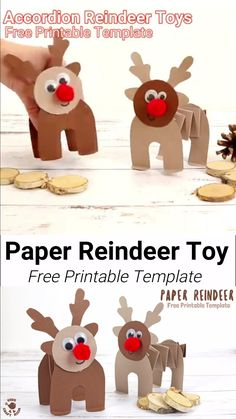 Fun Paper Reindeer Craft PRINTABLE PAPER REINDEER CRAFT – here's a fun free printable Christmas craft kids can play with. This homemade paper reindeer toy has a simple but cleverly folded body that allows. Christmas Paper Crafts, Holiday Crafts For Kids, Paper Crafts For Kids, Kids Christmas, Paper Crafting, Craft Kids, Teen Crafts, Simple Christmas Crafts, Crafts Toddlers