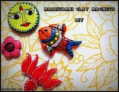 Madhubani Clay Magnets - DIY • Art Platter