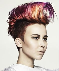 A medium brown straight coloured multi-tonal updo quiff shaved-sides hairstyle by Hooker & Young