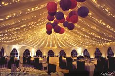 Marquee Lanterns and Fairy Lights. Lighting by Oakwood Events.
