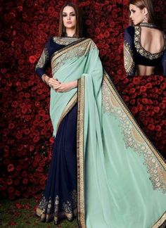 Blooming Sky Blue And Navy Blue Patch Border Embroidery Stone Work Wedding Sarees http://www.angelnx.com/