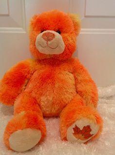 "BUILD A BEAR Orange Maple Leaf 2007 Bear Fall 15"" Plush Kids Sparkle fur 3…"