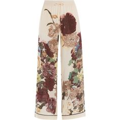 Valentino Printed Silk Wide Leg Pants ($745) ❤ liked on Polyvore featuring pants, bottoms, trousers, jeans, valentino, floral, loose fitting pants, floral wide leg trousers, cuff pants and evening pants
