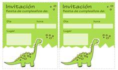 Dibujos para Colorear: Invitaciones de dinosaurios gratis