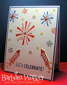 The Buzz: Happy 4th of July! featuring stamps from #LawnFawn, sequins from #PrettyPinkPosh and #SimonSaysStamps ink