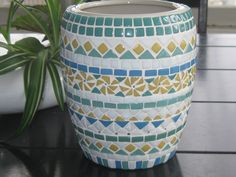 Blue and yellow ceramic pot available @ mymosaicmusings.com