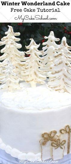 Elegant Winter Wonderland Cake Tutorial Featuring White Chocolate Trees! A simple, free cake tutorial by MyCakeSchool.com. PERFECT for Christmas parties!
