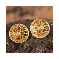 Gold Plated 'Starlit Sun' Filigree Stud Earrings (Peru) - Overstock™ Shopping - Great Deals on Novica Earrings