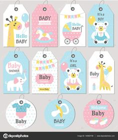 Gift tags and cards baby shower. Shower Bebe, Baby Boy Shower, Hello Hello Baby, Dibujos Baby Shower, Easy Preschool Crafts, Baby Journal, Baby Shawer, Baby Album, Tatty Teddy