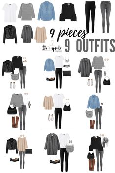 How to Dress Better with the Minimalist Wardrobe Challenge — The Capsule Project, 9 pieces x 9 outfits. Just a sampling of the hundreds of outfits you can make from the Minimalist Wardrobe Challenge capsule wardrobe! Mode Outfits, Fall Outfits, Fashion Outfits, Womens Fashion, Tall Girl Outfits, 30 Outfits, Weekly Outfits, Basic Outfits, Fashion 2016