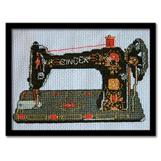 Counted Cross Stitch Pattern- Vintage Singer Sewing Machine. $5.00, via Etsy.