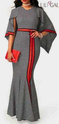 V Neck High Waist Printed Mermaid Dress  liligal  dresses  womenswear   womensfashion African ac98bfff49
