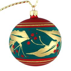 """Golden Leaves"" Hand Painted Glass Christmas Ball (Slovakia) picclick.com"